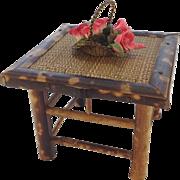 Vintage Wirework and Silk Dolls House Flower Basket.