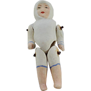 Antique Jointed All Bisque Baby Doll. Snow Hood. C.1910