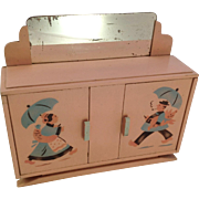 Cutest Vintage French Painted Toy Mirror-Backed Sideboard For Doll / Child. C1930s