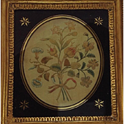 Antique Framed Silk Needlework Embroidery Flower Spray. C.1820.