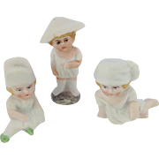 Set of Three Adorable Victorian Bisque Cake Decorations. Figures of Children.
