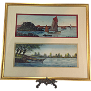 SALE Original French Marine Watercolour Paintings by Raymond Blossier C.1900