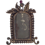 Attractive Small White Metal Steel Cut Photograph Frame with Scottish Thistle Decoration. C ..