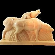 SOLD Art Deco Figure of Deer by Charles Lemanceau. Crackled Ceramic. C.1920's