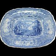 SALE Rare French Bordeaux  D. Johnston Grès J. Vieillard & Co Blue and White Meat Platter ...