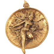 SOLD Fabulous French Bronze Dish. Circus Clown, Dancing Girl. Commedia dell'Arte. C1930