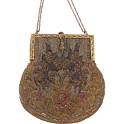 Nice Old Crewel Work / Wool Work Handbag, Purse Clutch. C.1900