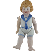 Antique Wire Jointed Bisque Sailor Boy Doll. C.1900