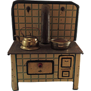 MFZ (Martin Fuchs Zindorf) German tin plate toy range cooker with kettle, copper pot. 1940s