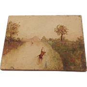 19th Century Miniature Oil Painting on Board for Doll House.