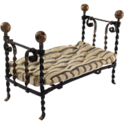 Wonderful Old, Decorative Twisted Metal Frame Bed with Ticking Mattress for Doll House.