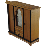 Super Edwardian Double Wardrobe for Doll House. Mirror Front, 2 Drawers. C.1900