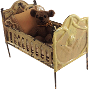 Vintage Tin Plate Doll-house Baby Doll Cot. C. 1910
