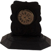 Cute Black Tin-plate Mantle Clock for Doll-house. Early 20th Century.