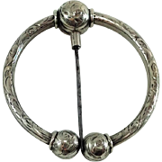 Gorgeous Old French Silver Brooch / Scarf Ring. Embossed. Napoleon III