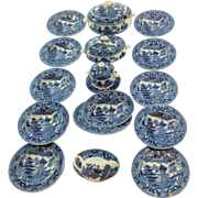Delightful English Antique Blue & White, Dolls, Miniature Dinner Service. Wedgwood Willow ...
