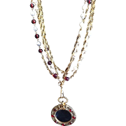 Vintage Long, Double Strand, CHANEL Necklace With Gripoix (poured Glass) Faux Pearl/Red Gripoi