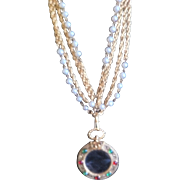 SOLD - Long, double strand, CHANEL Necklace with Gripoix (poured Glass) Faux Pearl/Red/Green .