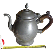 Rare Antique Pewter Teapot English 18th century wooden handle lidded finial
