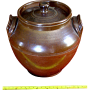 Antique Redware Decorated Bean Pot Crock New Engand c 1850 red brown glaze
