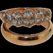 9K Rose Gold Natural 5 Stone Natural Aquamarine Engagement Ring & Wedding Band Set