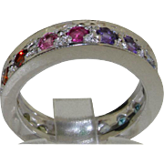 14K White Gold Natural Multi-gemstone Rainbow Full Eternity Wedding Ring