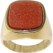Mens 9K Yellow Gold Large Cushion Cut Goldstone Signet Ring