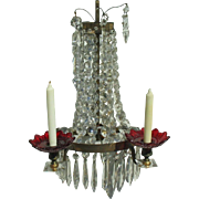 Early 20th Century Bronze Crystal Wall Chandelier/Crystal Glass Ornamental/Candelabra