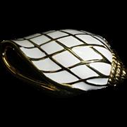 Gorgeous Trifari enameled seashell brooch
