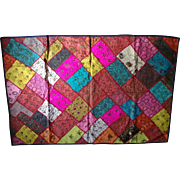 SALE Vintage India Rajasthan Ethnic Throw Handmade Embroidered Silk Sari Patchwork Tapestry ..
