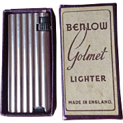 SALE Benlow Golmet Light Gold Tone Petrol Pocket Cigarette Cigar Lighter Made In England With
