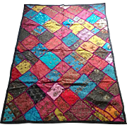 SALE Vintage India Decor Rajasthan Ethnic Throw Handmade Silk Sari Embroidered Patchwork ...