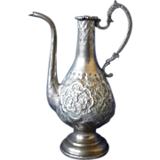Antique Islamic Teapot Persian area etched Chased Silver700