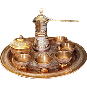 Turkish Coffee Set Damascus work Cairoware Mamluk copper silver Antique 19C Islamic