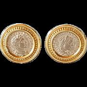 Antique Roman coin Earrings Vintage Gold 14k Earrings Emperors Caracalla and Elagabalus silver