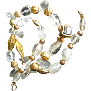 Antique Jewelry Gold Arab Trade Bead Necklace with Roman Crystals and 18K Victorian Ring