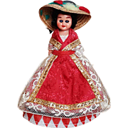 "Vintage Red Diamond Dress Doll Apron and Hat 5"" Tall"