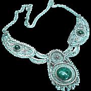 Eilat Stone Pendant Necklace Silver filigree Vintage Handmade Elat Israel
