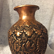 "SOLD Hammered and Burned Copper Vase ""Dancing Flower"""