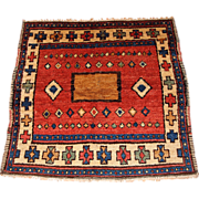 Antique collectible Turkish Village rug 4.6' x 5.2' ( 140cm x 158cm) 1850