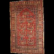 Hand made antique Turkish rug 4.1' x 6.2' ( 125cm x 189cm ) 1890