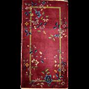2.9' x 6' ( 91cm x 185cm ) Art deco Chinese rug 1920