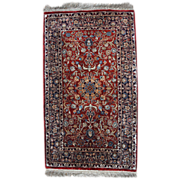 Hand made vintage silk Indian Qum style rug 1.4' x 2.5' ( 45cm x ...
