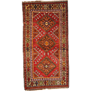 3.5' X 6.8' ( 107cm X 207cm) Hand made antique Turkish Anatolian rug 1910