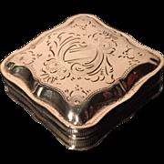 SALE Dutch Solid Silver Pill Box. 1876
