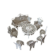 SALE Solid Silver antique Miniature Dolls Furniture Set. Hallmarked Filigree 8 pcs
