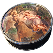 SOLD French early 1800s, solid silver and shell trinket box, with watercolor or gouache painti