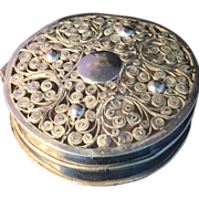 SALE Antique solid silver filagree Dutch pill box. Fully Hallmarked for Holland 1845.