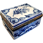 SALE 18th C Faience Porcelain Table Snuff Box. Marked.