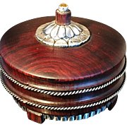 SALE Wonderful Indian Colonial Trinket Box Sterling Silver and Rosewood. Hallmarked.